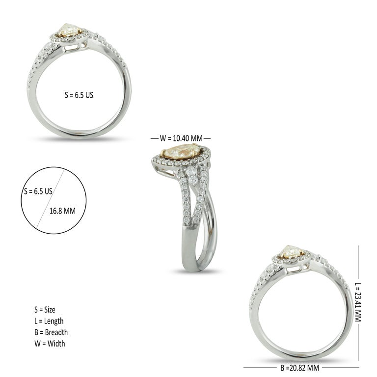 Studio Rêves 0.53 Carat Yellow Pear Engagement Ring in 18 Karat Gold For Sale 1
