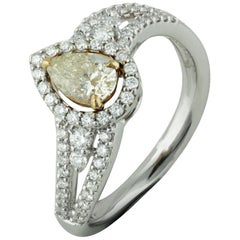 Studio Rêves 18 Karat Gold, 0.53 Carat Yellow Pear Engagement Ring