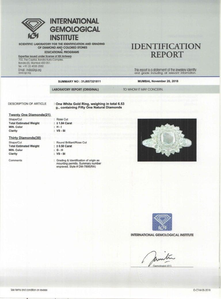 Studio Rêves 0.79 Carat Oval Rose Cut Diamond Engagement Ring in 18 Karat Gold For Sale 5