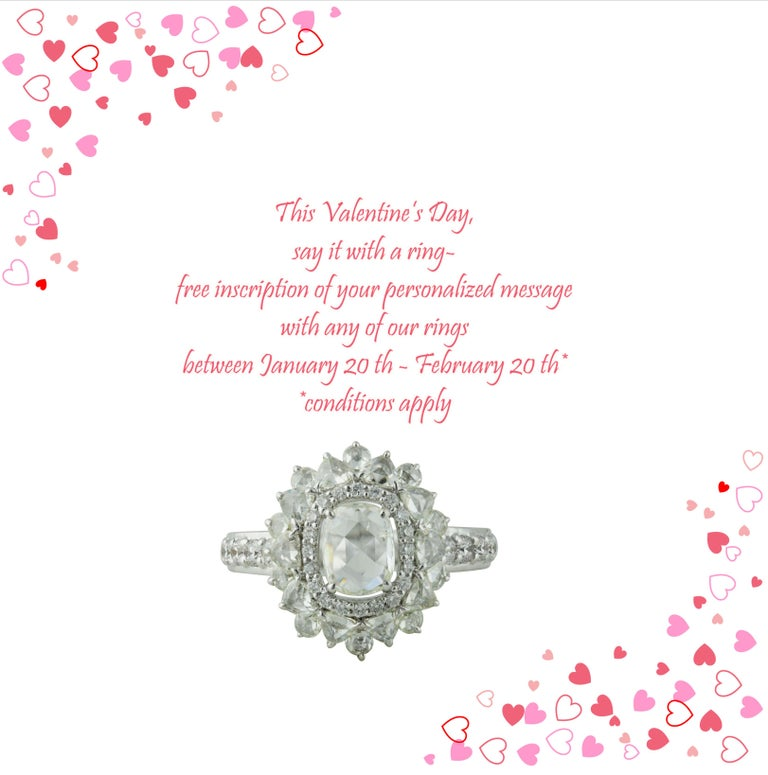 18K white gold and diamond ring  This Valentine's Day, say it with a ring- free inscription of your personalized message with any of our rings between January 20 th - February 20 th*   Elegance with a dash of drama makes this 18K white gold ring
