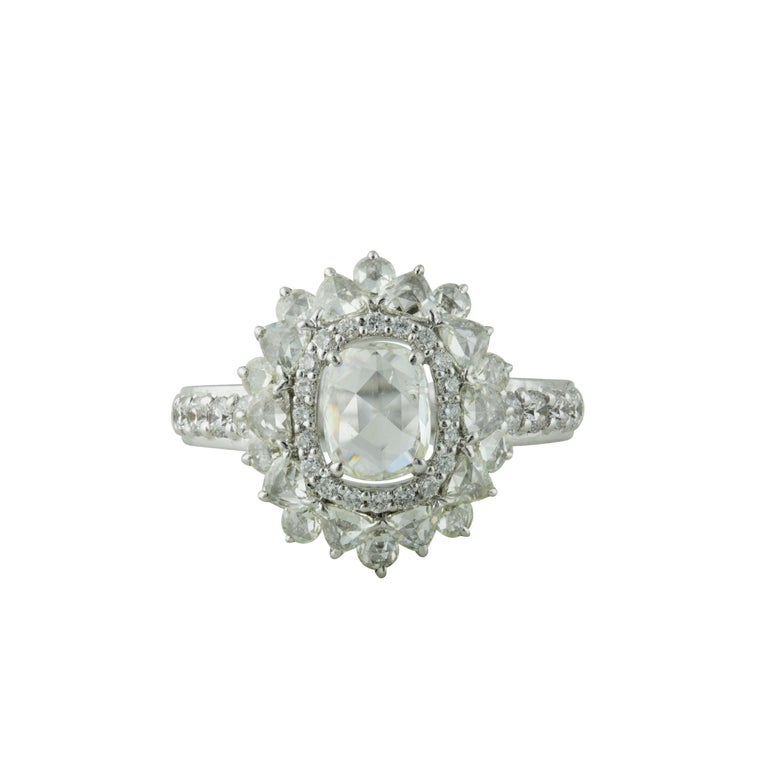 Contemporary Studio Rêves 0.79 Carat Oval Rose Cut Diamond Engagement Ring in 18 Karat Gold For Sale