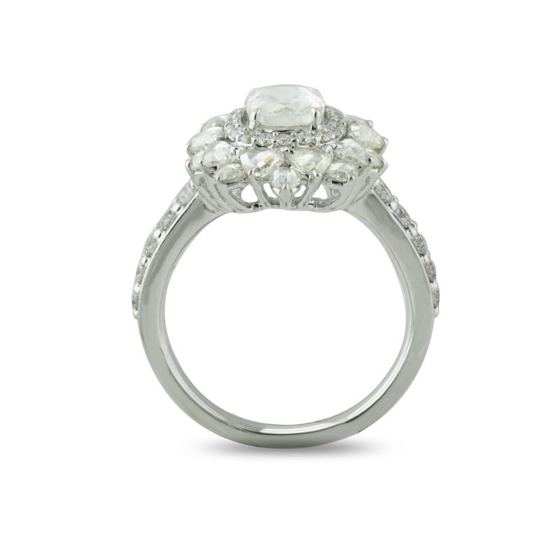 Studio Rêves 0.79 Carat Oval Rose Cut Diamond Engagement Ring in 18 Karat Gold In New Condition For Sale In Mumbai, Maharashtra