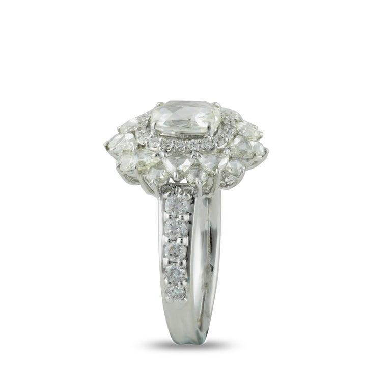 Women's Studio Rêves 0.79 Carat Oval Rose Cut Diamond Engagement Ring in 18 Karat Gold For Sale