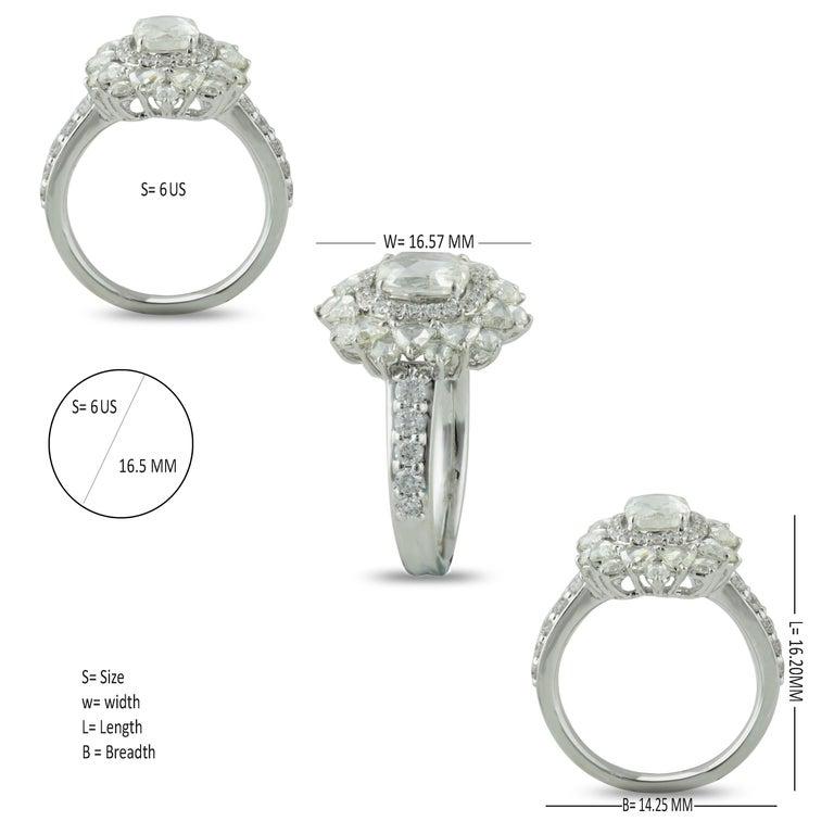 Studio Rêves 0.79 Carat Oval Rose Cut Diamond Engagement Ring in 18 Karat Gold For Sale 2