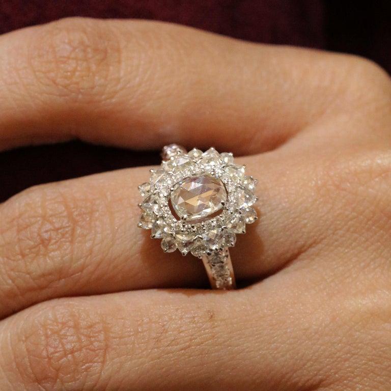Studio Rêves 0.79 Carat Oval Rose Cut Diamond Engagement Ring in 18 Karat Gold For Sale 3