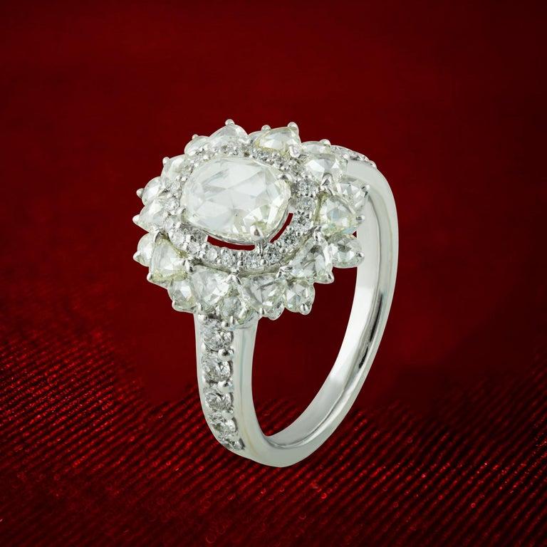 Studio Rêves 0.79 Carat Oval Rose Cut Diamond Engagement Ring in 18 Karat Gold For Sale 4