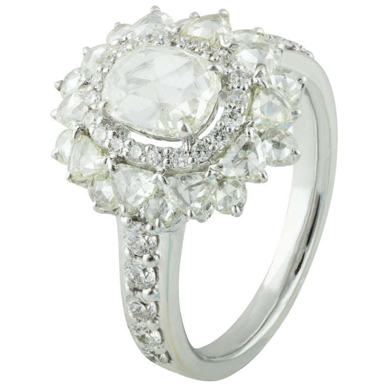 Studio Rêves 0.79 Carat Oval Rose Cut Diamond Engagement Ring in 18 Karat Gold For Sale