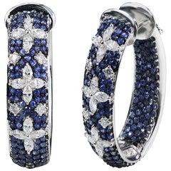 Studio Rêves Blue Sapphire and Marquise Hoop Earrings in 18 Karat Gold