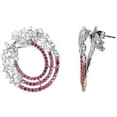 Studio Rêves 18 Karat Gold, Diamond and Pink Sapphire Earrings