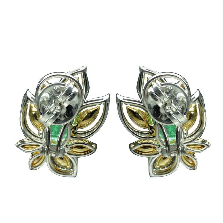 Pear Cut Studio Rêves Diamonds and Emeralds Clip-On Earrings in 18 Karat Gold For Sale