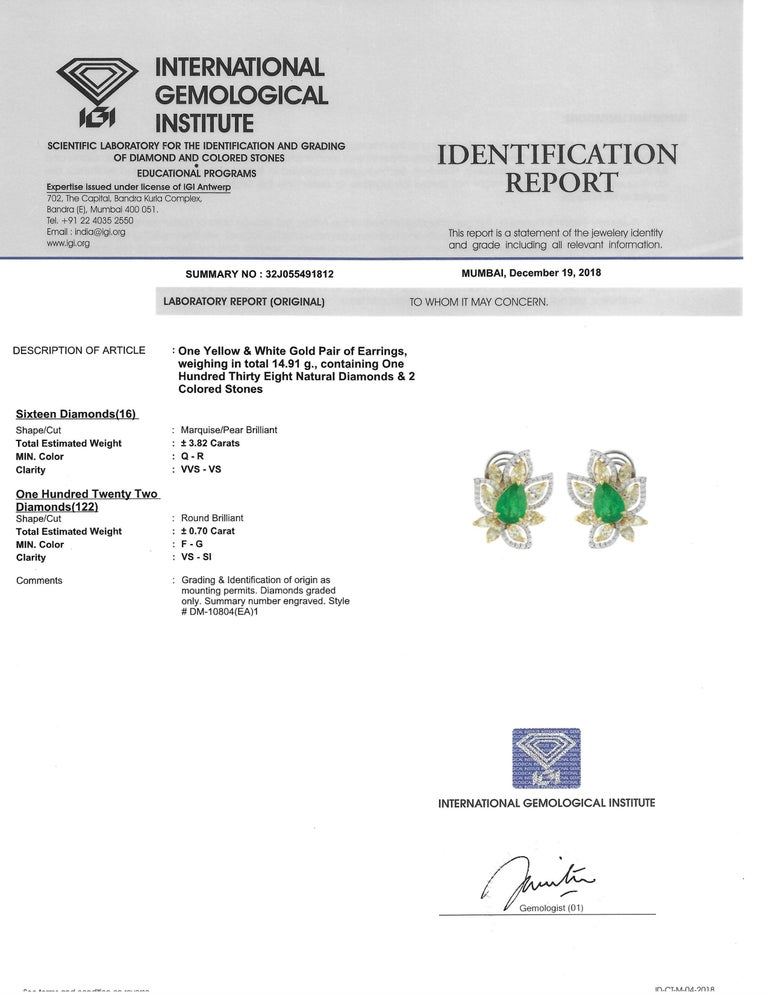 Studio Rêves Diamonds and Emeralds Clip-On Earrings in 18 Karat Gold For Sale 2
