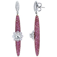 Studio Rêves 18 Karat Gold, Diamonds and Pink Sapphire Dangling Earrings