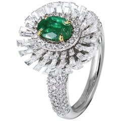 Studio Rêves Emerald and Baguette Diamonds Ring in 18 Karat Gold
