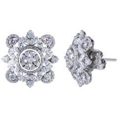 Studio Rêves Marquise and Round Diamonds Stud Earrings in 18 Karat Gold