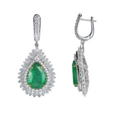 Studio Rêves 18 Karat Gold, Pear Emeralds and Diamond Drop Earrings