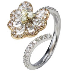 Studio Rêves Pear Rose Cut Diamonds Lotus Leaf Cocktail Ring in 18 Karat Gold