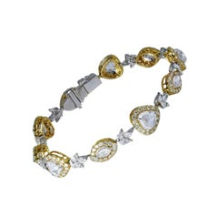 Studio Rêves 18 Karat Gold and Rose Cut Diamonds Tennis Bracelet