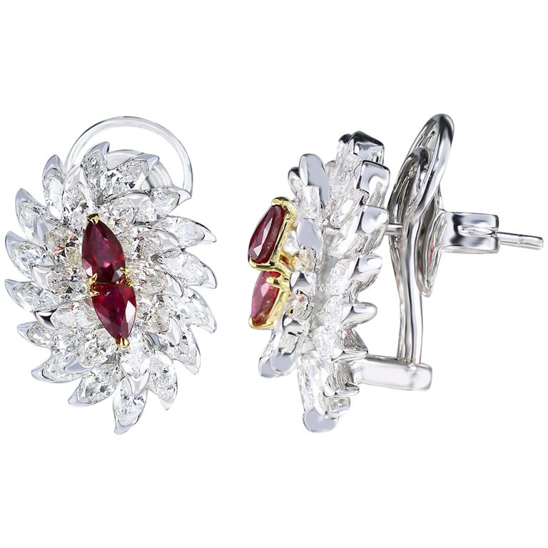61bd447356bc05 Studio Rêves Ruby and Marquise Diamond Stud Earrings in 18 Karat Gold For  Sale