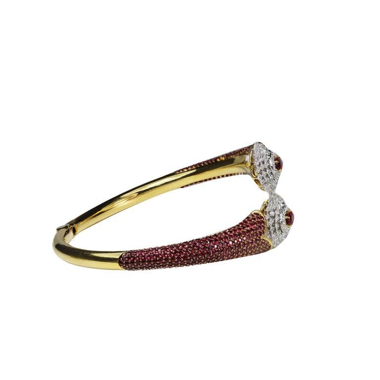 Women's Studio Rêves Ruby and Rose Cut Diamond Modern Bracelet in 18 Karat Gold  For Sale