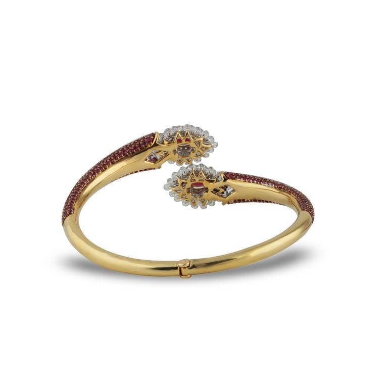 Studio Rêves Ruby and Rose Cut Diamond Modern Bracelet in 18 Karat Gold  For Sale 1