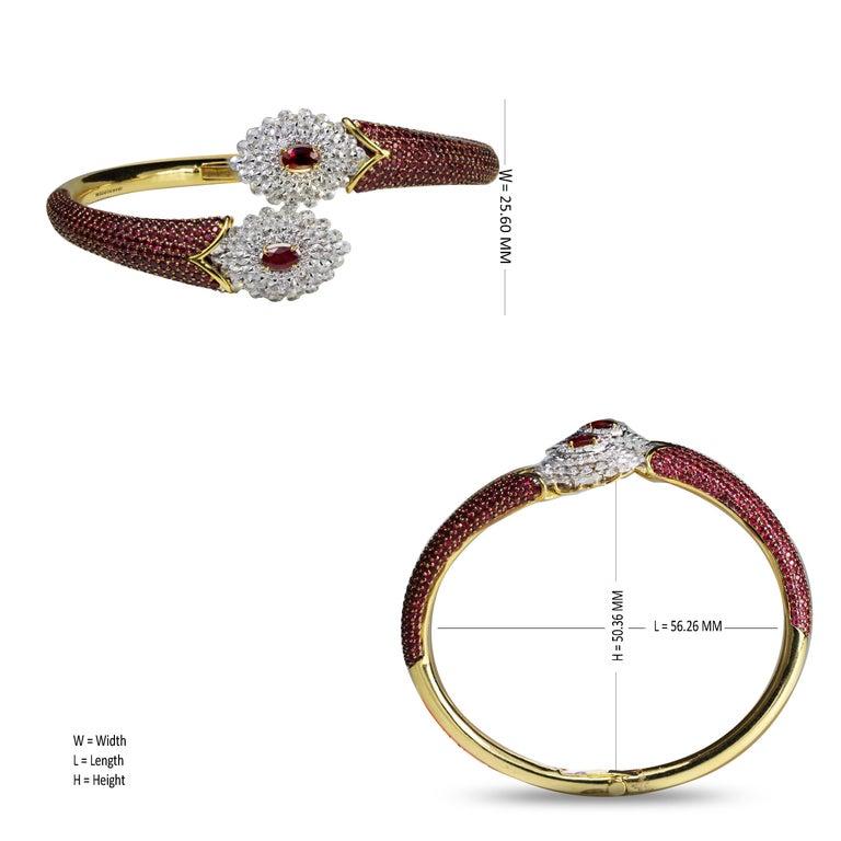 Studio Rêves Ruby and Rose Cut Diamond Modern Bracelet in 18 Karat Gold  For Sale 2