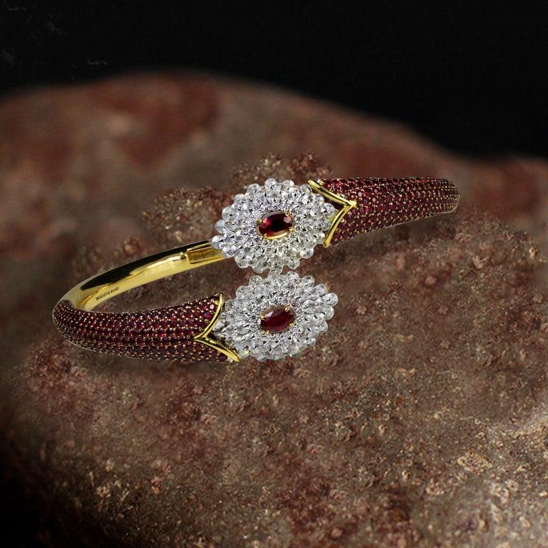 Studio Rêves Ruby and Rose Cut Diamond Modern Bracelet in 18 Karat Gold  For Sale 3