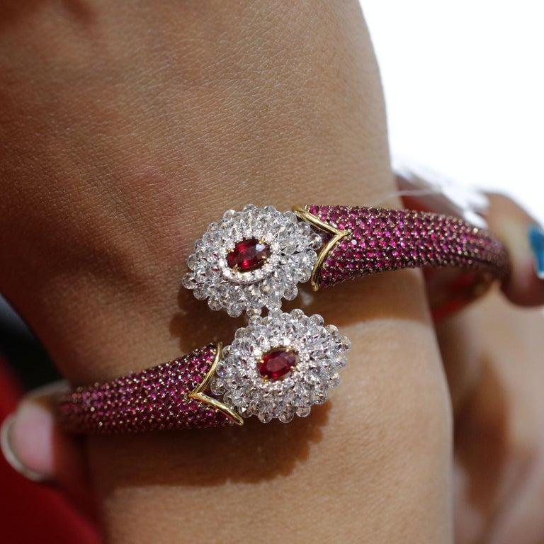 Studio Rêves Ruby and Rose Cut Diamond Modern Bracelet in 18 Karat Gold  For Sale 4