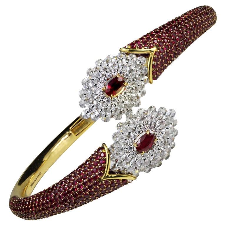 Studio Rêves Ruby and Rose Cut Diamond Modern Bracelet in 18 Karat Gold  For Sale