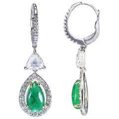 Studio Rêves 18 Karat Gold, Trillion Rose Cut and Emerald Dangling Earrings
