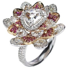Studio Rêves Trillion Rose Cut Diamonds and Pink Sapphire Ring in 18 Karat Gold