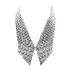 Studio Rêves 18 Karat White Gold and Marquise Diamond Collar Scarf Necklace