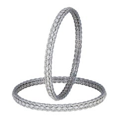 Studio Rêves 18 Karat White Gold and Marquise Diamonds Bangles