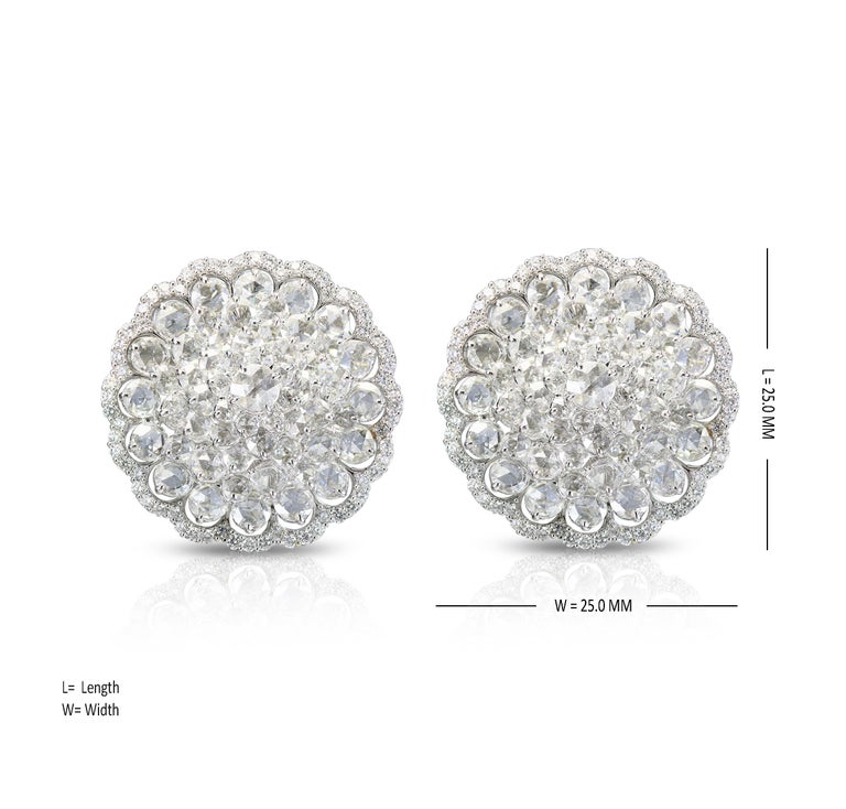 Women's Studio Rêves 18 Karat White Gold and Rose Cut Floral Cluster Stud Earrings For Sale