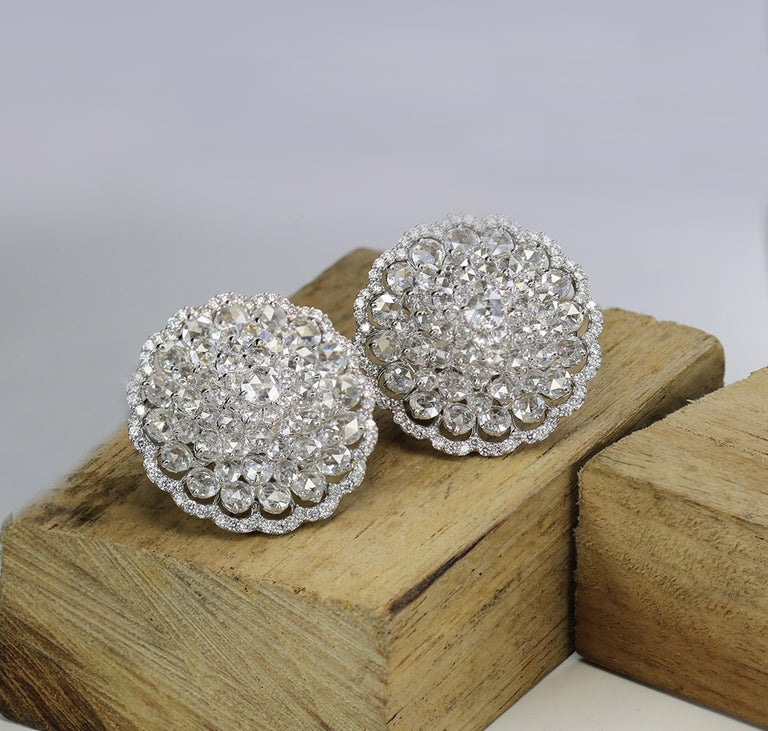 Studio Rêves 18 Karat White Gold and Rose Cut Floral Cluster Stud Earrings For Sale 1