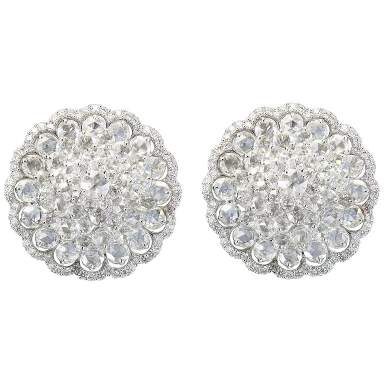 Studio Rêves 18 Karat White Gold and Rose Cut Floral Cluster Stud Earrings For Sale