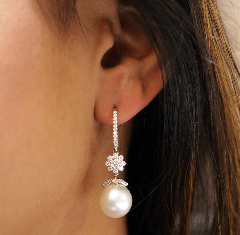 Studio Rêves 18 Karat White Gold, Diamonds and Pearls Cluster Dangling Earrings For Sale 1