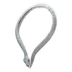 Studio Rêves 18 Karat White Gold Marquise Snake Spring Collar Necklace
