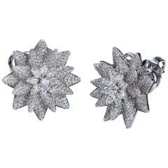Studio Rêves 18 Karat White Gold and Diamonds Octagonal Floral Stud Earrings