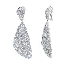 Studio Rêves 18 Karat White Gold, Rose Cut Diamond Carpet Dangling Earrings