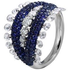 Studio Rêves 18 Karat White Gold, Rose Cut Diamonds and Blue Sapphire Dome Ring