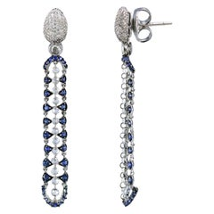 Studio Rêves 18 Karat White Gold Rose Cut Diamonds Blue Sapphire Dangle Earrings