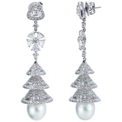 Studio Rêves 18 Karat White Gold, Rose Cut Diamonds Chandelier Earrings