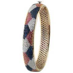 Studio Rêves 18 Karat Diamonds and Sapphires Bangle Bracelet