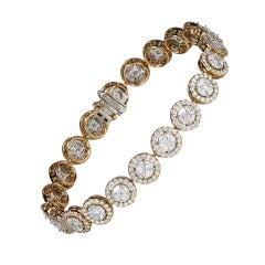 Studio Rêves 18K Rose and White Gold Mosaic Marquise Diamond Tennis Bracelet