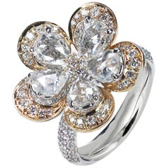 Studio Rêves Pear Rose Cut Floral Ring in 18 Karat Rose Gold