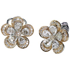 Studio Rêves 18K White and Rose Gold Pear Rose Cut Floral Stud Clip-On Earrings