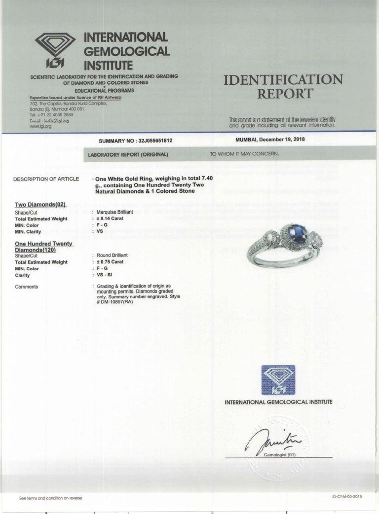 Studio Rêves 1.68 Carat Blue Sapphire and Diamond Ring in 18 Karat White Gold 3