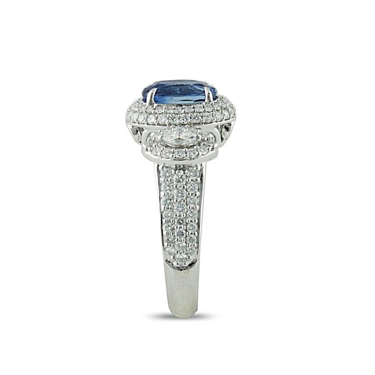 Oval Cut Studio Rêves 1.68 Carat Blue Sapphire and Diamond Ring in 18 Karat White Gold