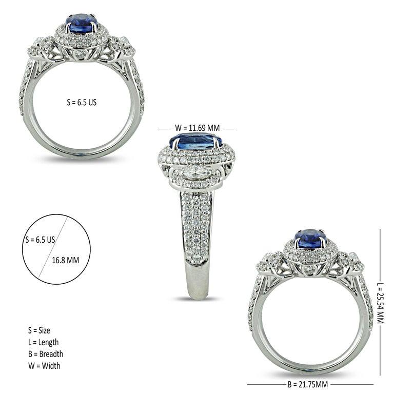 Women's Studio Rêves 1.68 Carat Blue Sapphire and Diamond Ring in 18 Karat White Gold
