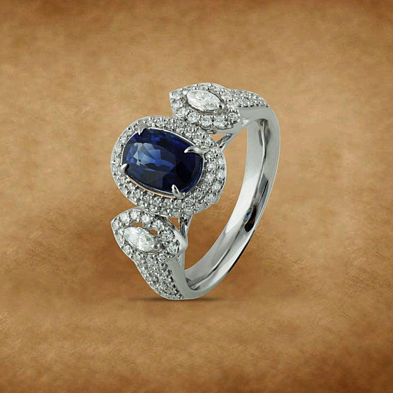 Studio Rêves 1.68 Carat Blue Sapphire and Diamond Ring in 18 Karat White Gold 1